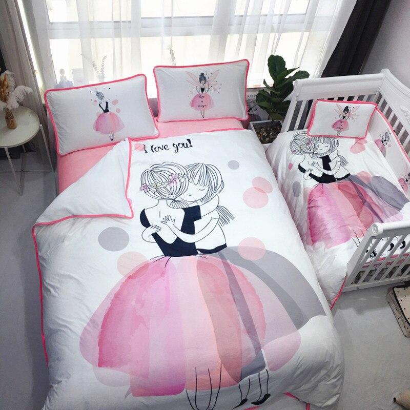 4 шт. Комплект постельного белья бампер фланелевый мультфильм шаблон одеяло для новорожденных крышка простыня наволочка детская кроватка бампер Детский Комплект постельного белья - 3