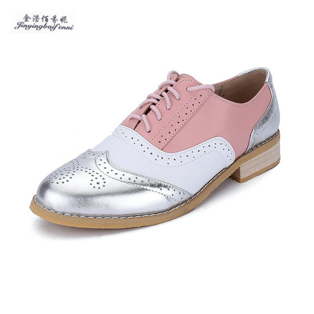 Genuine leather flat shoes women US size 13 handmade Color matching leather  shoes vintage British style
