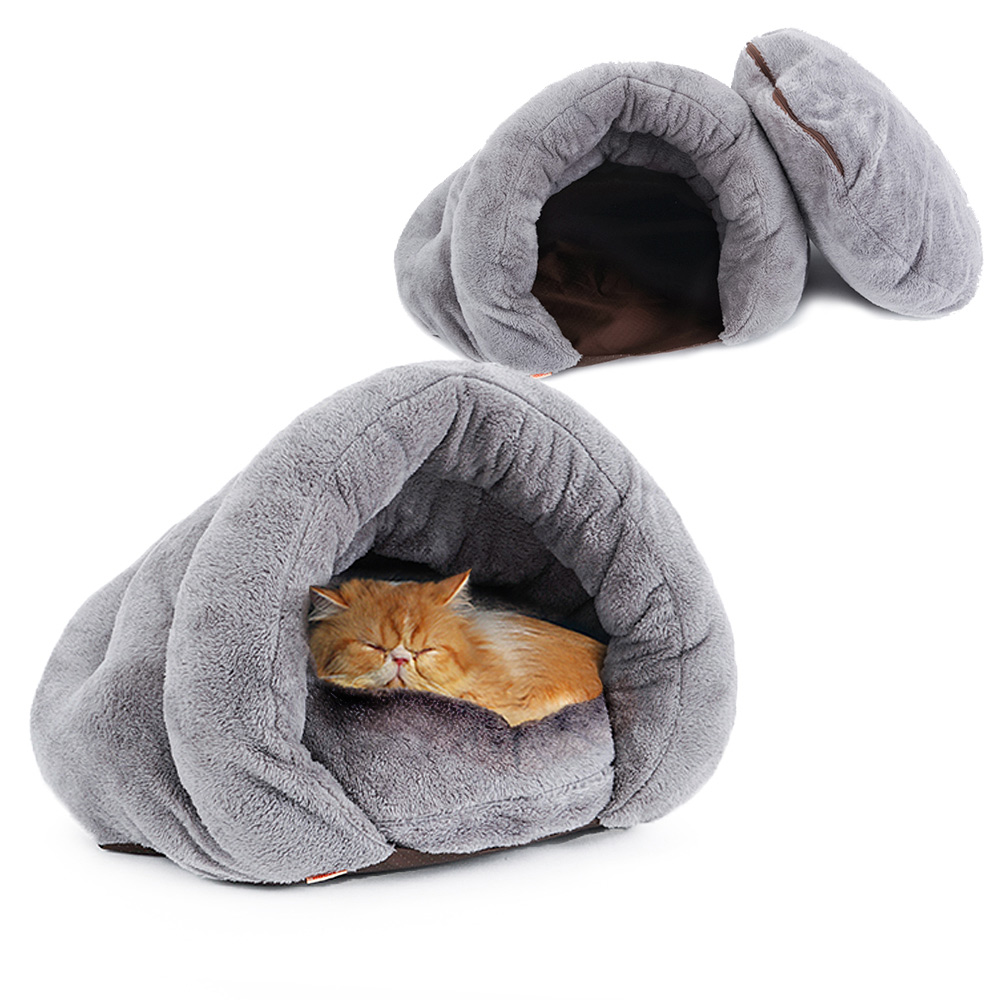 HOOPET New Arrival Warm Cat Sleeping Bags Pet Beds Half Cover Winter Nest Kitty House Cats Bed Brown 2 Size K in Cat Beds Mats from Home Garden