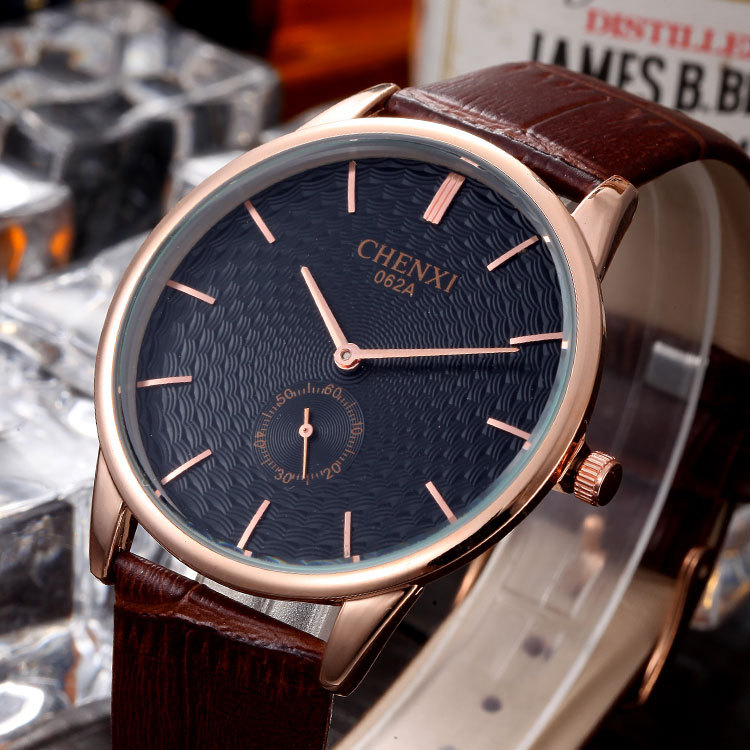 CHENXI Luxury Rose Gold Ultra Thin Leather Quartz Wristwatches Wrist Watch Gift for Men Male 2 Year Warrenty Brown 062A hot sale luxury crystal rose gold high quality leather quartz gift watch wristwatch for women ladies girls 1 year warrenty