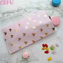 QFU Packing Christmas Gift Bag Candy Box Kraft Paper Popcorn Goodie Bags Printed Treat Birthday Party