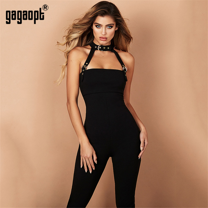 Gagaopt 2018 Summer Sexy Women   Jumpsuit   Chocker Belt Party Club Women Solid Full Length Streetwear   Jumpsuit