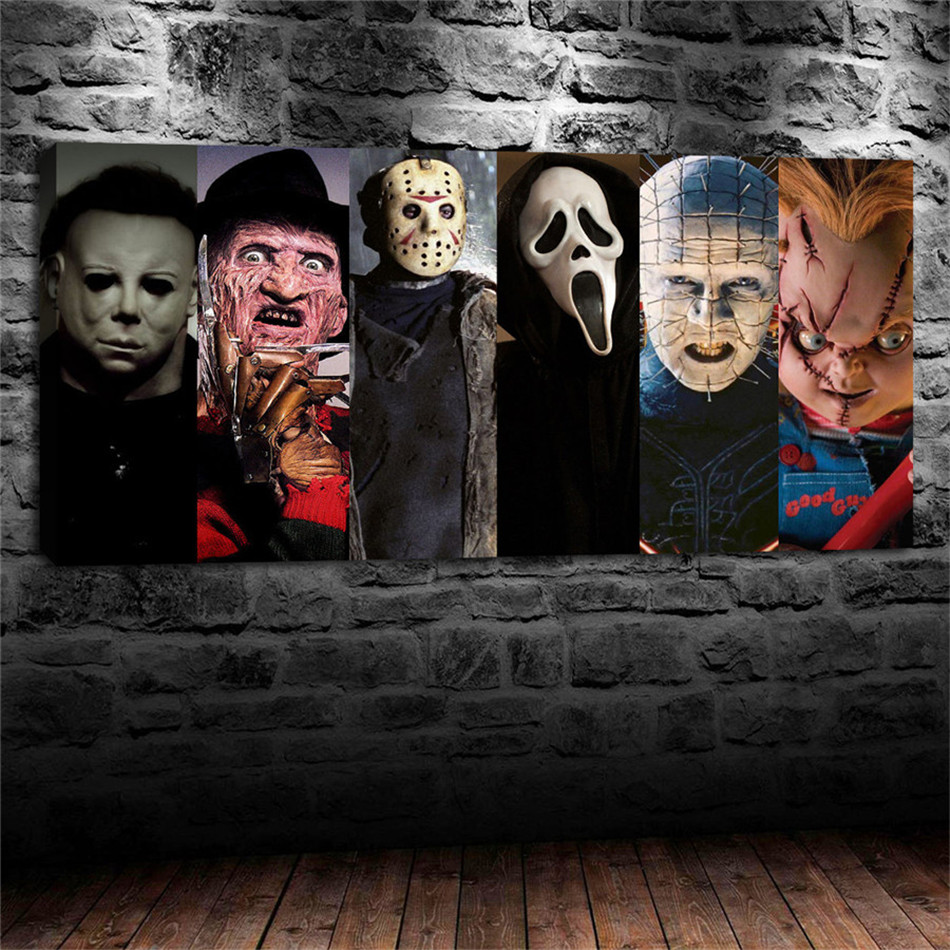 The Scariest Horror Movie Slasher Kills In 2 Minutes Canvas Painting Print Living Room Home Decor Modern Wall Art Oil Painting image