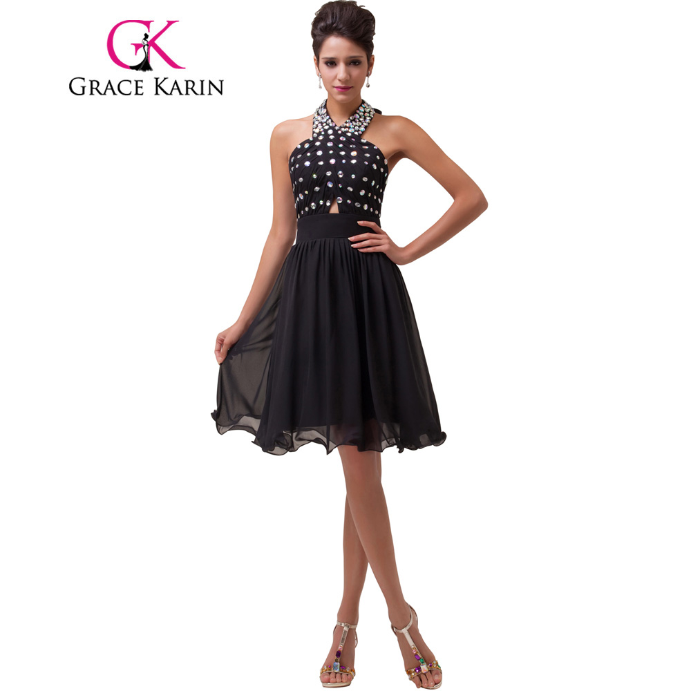 ③Grace Karin Short Prom Dress 2018 Black Sequins Prom Gowns Halter ...