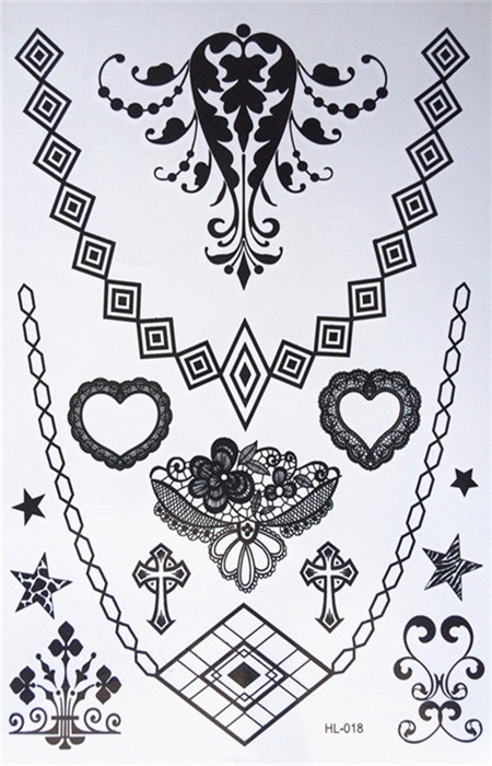 buy new design waterproof black henna tattoos woman body gems lace necklace. Black Bedroom Furniture Sets. Home Design Ideas