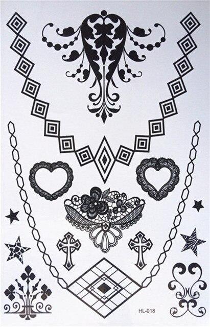 Henna Lace Bracelet Temporary Tattoo Sticker: New Design Waterproof Black Henna Tattoos Woman Body Gems