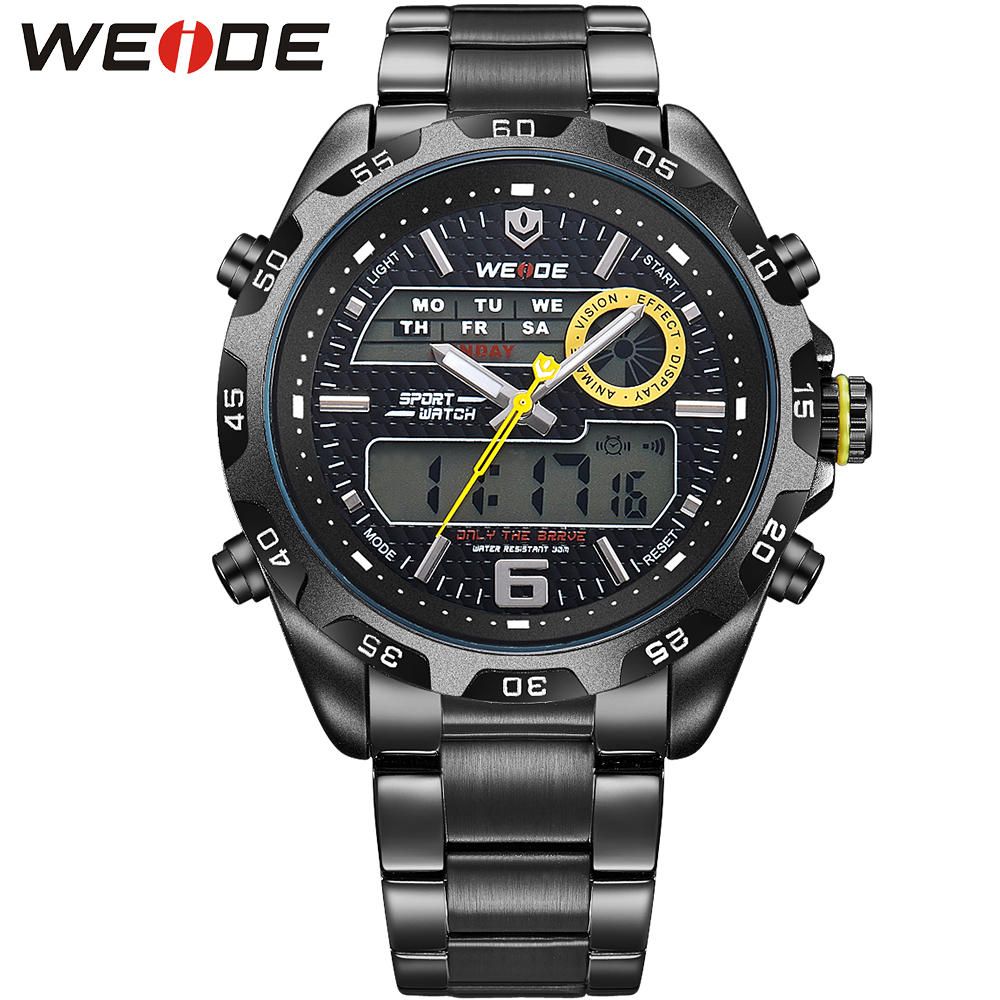ФОТО WEIDE New Watch Analog-Digital Display Outdoor Men Sport Quartz Movement Military Watch Back Light Stainless Steel Band 6 Colors
