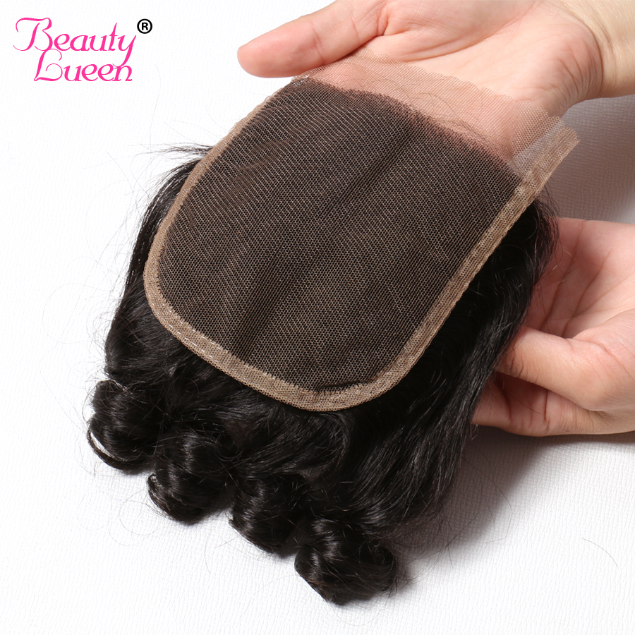 Brazilian Bouncy Curly Lace Closure 4x4 Remy 100 Human Hair With Few Baby Hair Middle Free