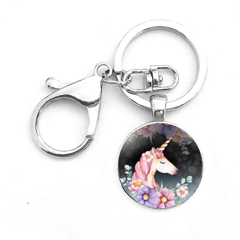 Suteyi الأزياء يونيكورن صورة الزجاج كابوشون المفاتيح اليدوية الفضة سلسلة مفتاح سلسلة ل الحصان عشاق أفضل الهدايا