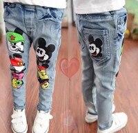 Crianças roupas de primavera 2018 meninas jeans skinny bebê/meninos dos desenhos animados calças jeans