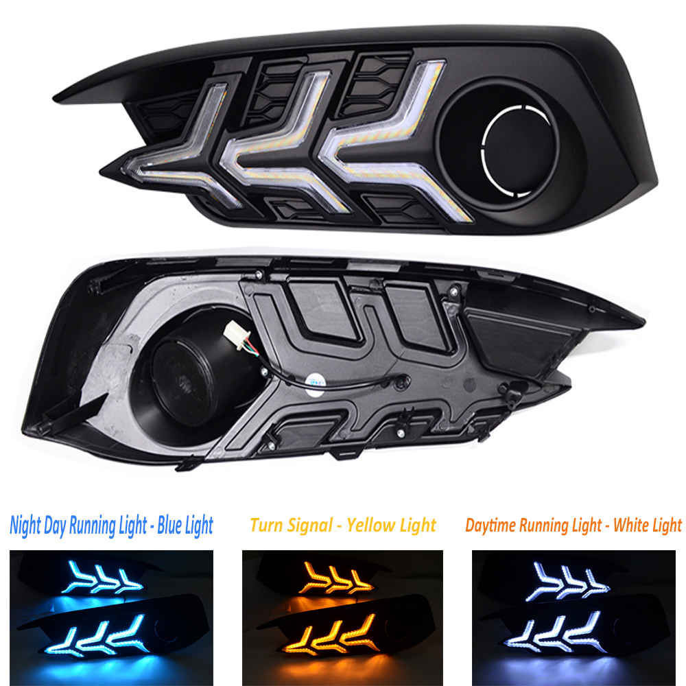 Conjunto 1 LED Daytime Running Luz DRL Do Carro Sinal de Volta Luzes de Nevoeiro Lâmpada Lâmpadas 3 Cores Styling Acessórios Para Honda civic 2016 2017