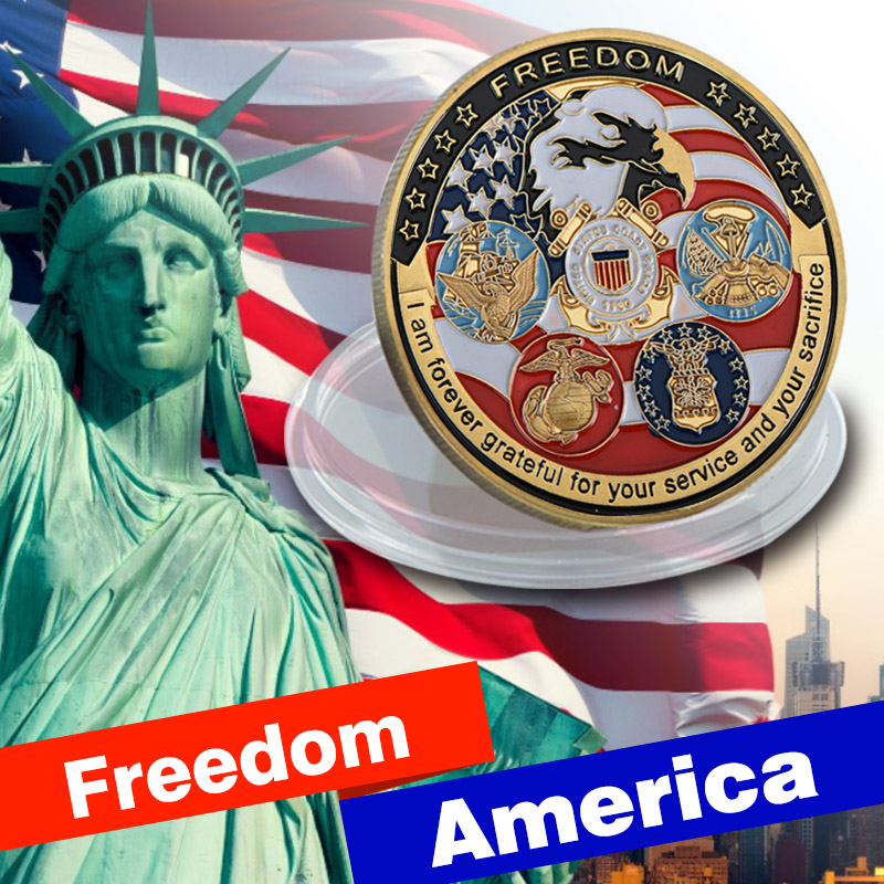 Free Shipping 10pcs/lot, U.S. United States | Freedom America Eagle Military Gold Plated Challenge Coin