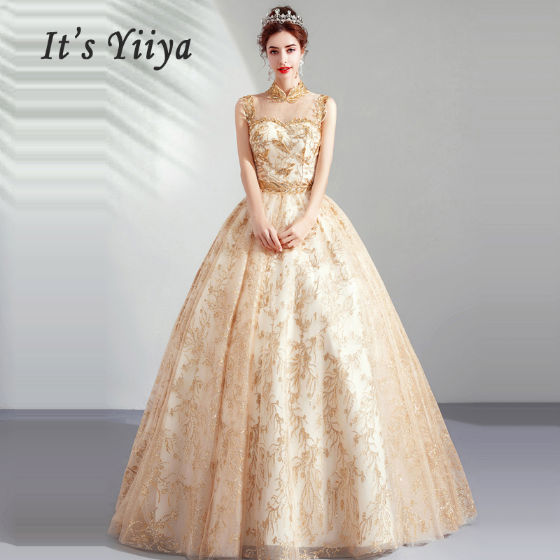 It's Yiiya Evening Dress Sequin Robe De Soiree 2019 Long Plus Size Hollow Women Party Dresses Sleeveless Lace Evening Gowns E636