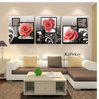 3pcs Full Square 5D DIY Diamond Painting Pink Rose Wall Picture Diamond Embroidery Rose Cross Stitch