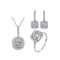 Square Vintage Bridal Earing Necklace Sets AAA Cubic Zirconia Wedding Jewelry Sets White Gold Plated Parure