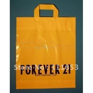 Free Custom Logo Design Loop Handle Plastic Bags Advertising Carrier Arel