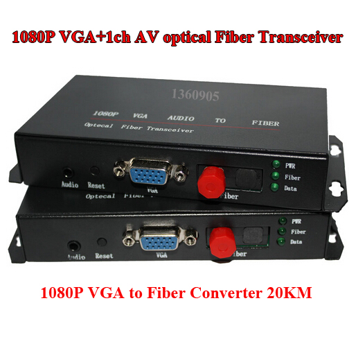 1CH VGA HD AV Optical Fiber Optic Extender Converter 1080P VGA Audio To Fiber Optical transceiver single mode 20KM FC