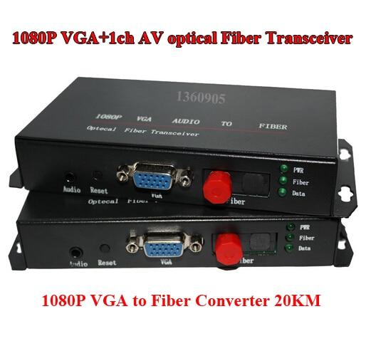 1CH VGA HD AV Optical Fiber Optic Extender Converter 1080P VGA Audio To Fiber Optical Transceiver Single Mode 20KM FC