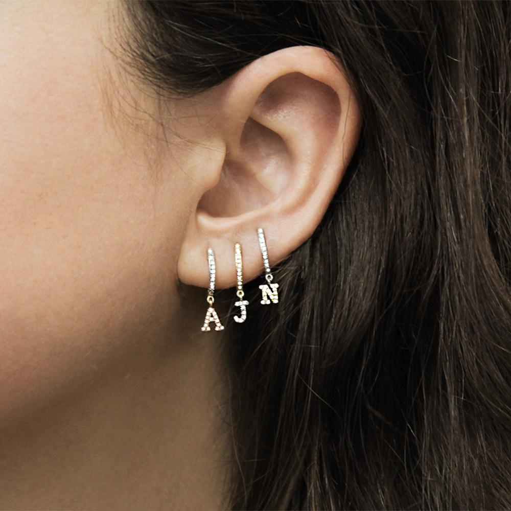 Alphabet Earrings Charm Circle Clear Name-Letter Cz Gold Dangle Silver Personalized 26-Initial