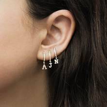 1 piece Gold silver 2 color clear cz 26 Initial charm circle dangle drop earring personalized name letter Alphabet earrings(China)