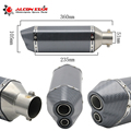 Universal GY6 Motorcycle Scooter Modified Akrapovic Double-vented Muffler exhaust pipe CBR 125 250 CB400 CB600 YZF FZ400 Z750