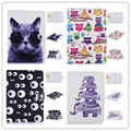 Luxury printted cute cat owl butterfly & flower tower Stand Wallet Tablet Case for Samsung Galaxy Tab 4 10.1 T530 T531 T535