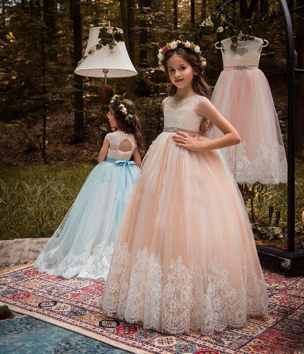 New Pink Sky Blue Beautiful Princess Dresses Lace Fluffy Flower Girls Dresses for Wedding with Beaded Sash Key Hole Back