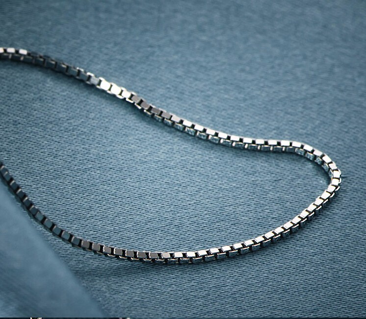 New Pure S990 Sterling Silver Necklace chain Box Chain