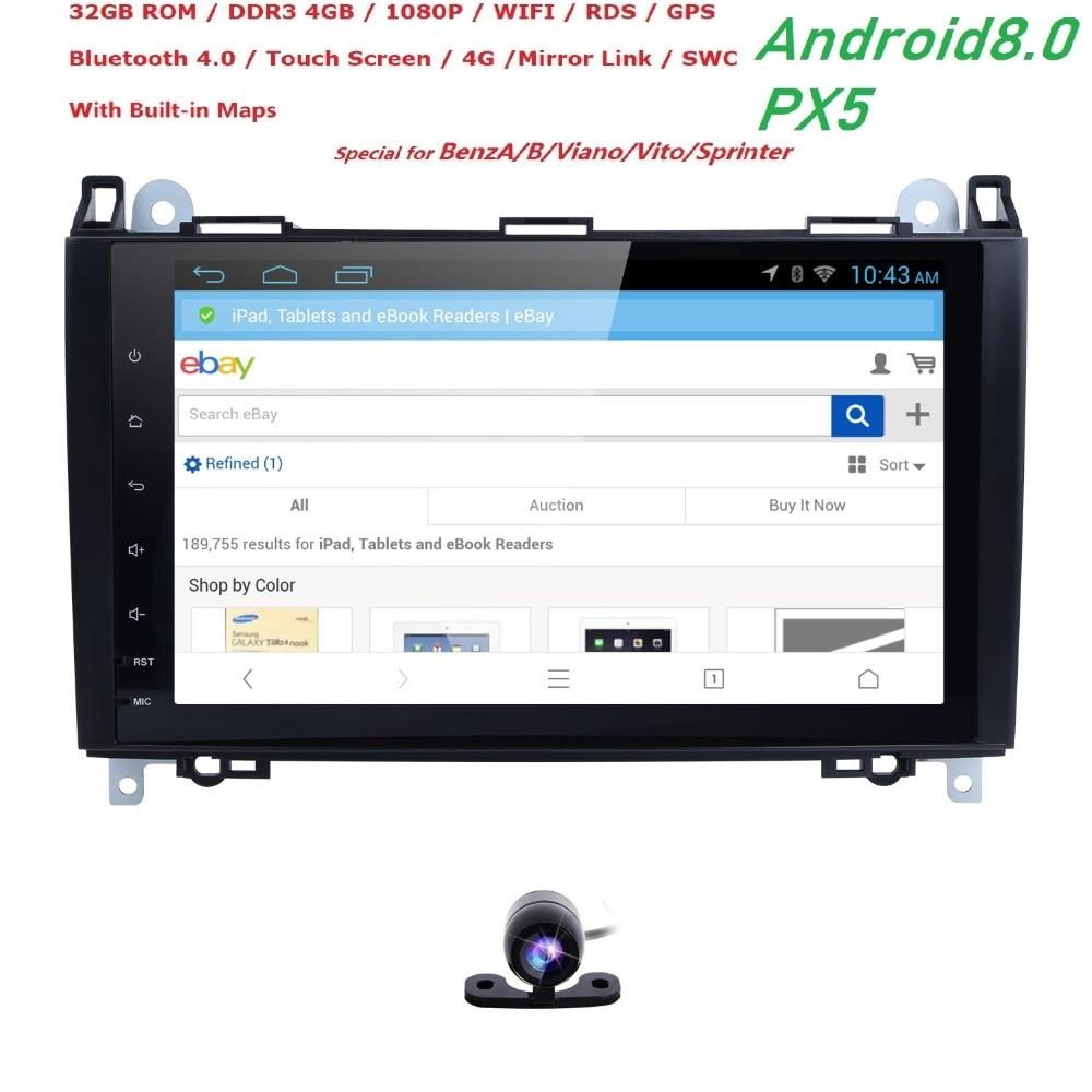OctaCore 1024*600 2din voiture NODVD Android8.0 pour Mercedes/benz B200 W169 A160 Viano Vito GPS NAVI RADIO BT intégré wifi 4 GB + 32 GB