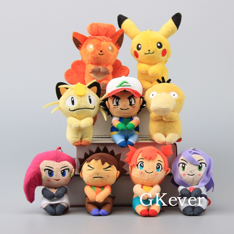 "9 Pcs/Set Mini Pikachu Psyduck Vulipix Lovely Meowth Cool Ash Ketchum Brock Plush Pendant Keychain Soft Dolls  5"" 12 cm-in Movies & TV from Toys & Hobbies    2"