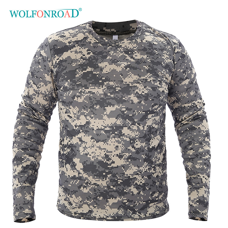 Wolfonroad Men Spring Quick Dry T-shirts Military Tactical Army Shirts Outdoor Sport Hiking Camping T-shirts Long Sleeve Shirts 50% OFF Wrench