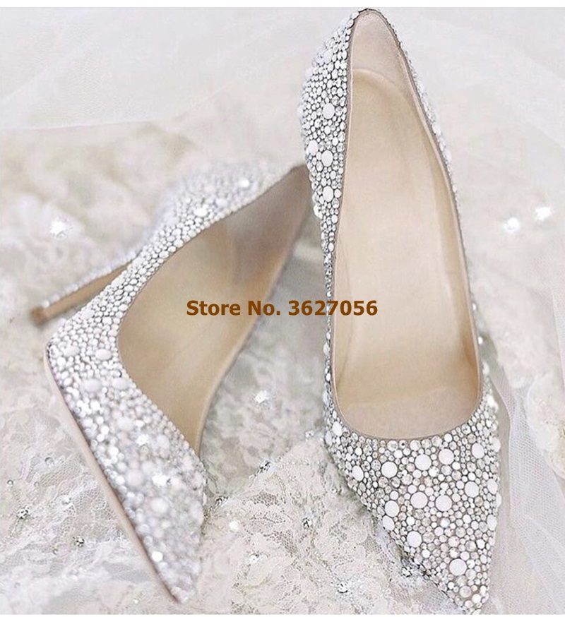 Women Luxury Brand Bling Bling Silver Crystal Wedding Shoes Pointed Toe Shallow Slip-on Glitter Party Shoes Dress Pump DropsphipWomen Luxury Brand Bling Bling Silver Crystal Wedding Shoes Pointed Toe Shallow Slip-on Glitter Party Shoes Dress Pump Dropsphip