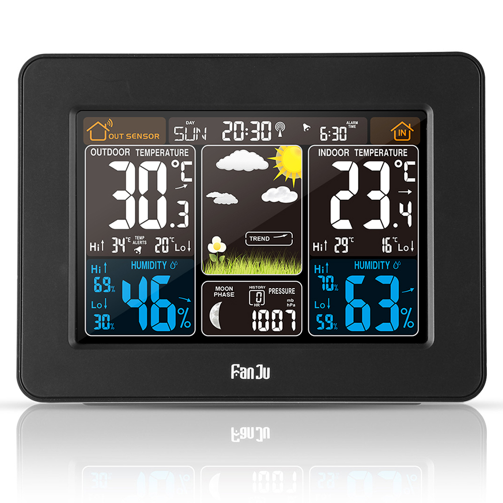 FJ3365B Digital Color Forecast Weather Station DCF Radio Control Clock With Alert Temperature Humidity Barometer Alarm