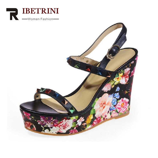 b0f32bde8e8 RIBETRINI 2017 Summer Colorfull Revet Cow Leather Ankle Strap Sandals Print  Platform Super High Wedges Women Shoes Size 34-39