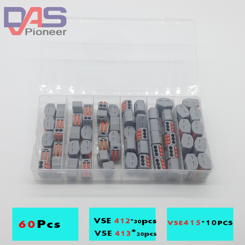 цена на wire compact splicing connector 60pcs combo wire connector 30pcsX2P 20pcsX 3P 10pcsX5P