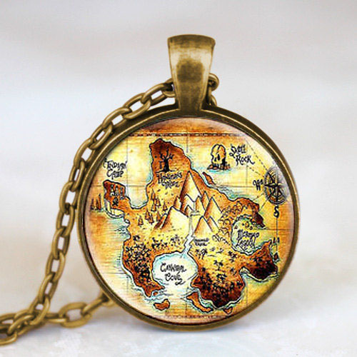 Steampunk US Movie Peter Pan Neverland map Pendant Necklace glass 1pcs/lot Glass mens handmade jewelry dr who chain