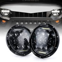 7 Round LED Headlights White DRL / Amber Turn signal For Hummer H1 H2 H3 LED Projector DRL 7 inch Headlamp Lada niva 4x4