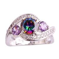 lingmei Wholesale Mysterious Raibow Topaz Amethyst White Topaz 925 Silver Ring Size 6 7 8 9 10 11 Fashion Jewelry For Women Men