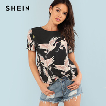 SHEIN Red-crowned Crane Print Top 2018 Summer Round Neck Short Sleeve Casual Top Women Black Floral Animal Print Blouse