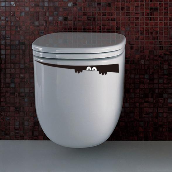 Toilet Monster Decal Vinyl Bathroom Sticker Wall Mural Furniture Home Room DIY