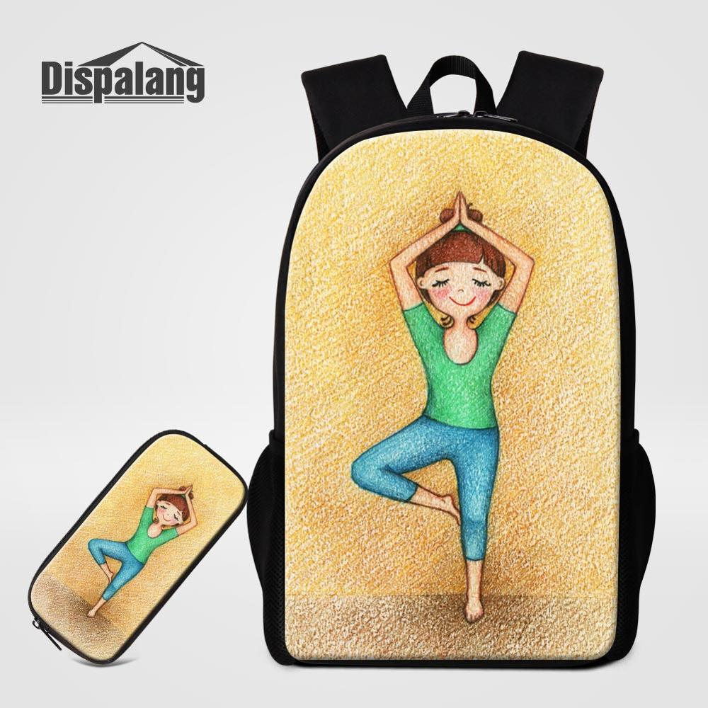 Cartoon Kids Schoolbag For Teenagers Student Yoga Girl Printing 2pcs/set Backpack With Pencil Case 16 inch Children School Bag(China)