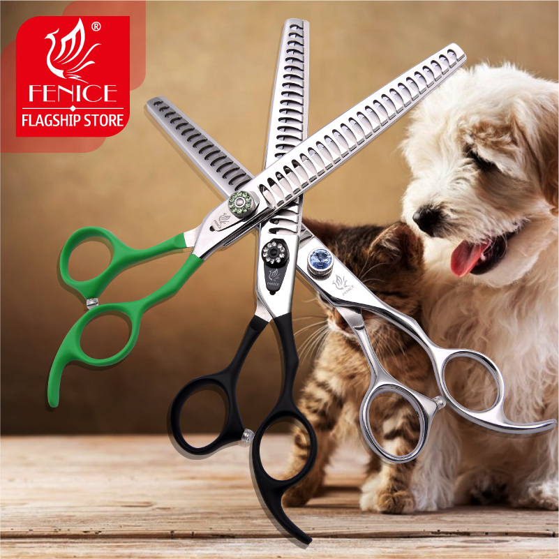 Fenice Professional Pet grooming scissors High Class Thinning shears Toothed Blade Stainless Steel 7 5 inch