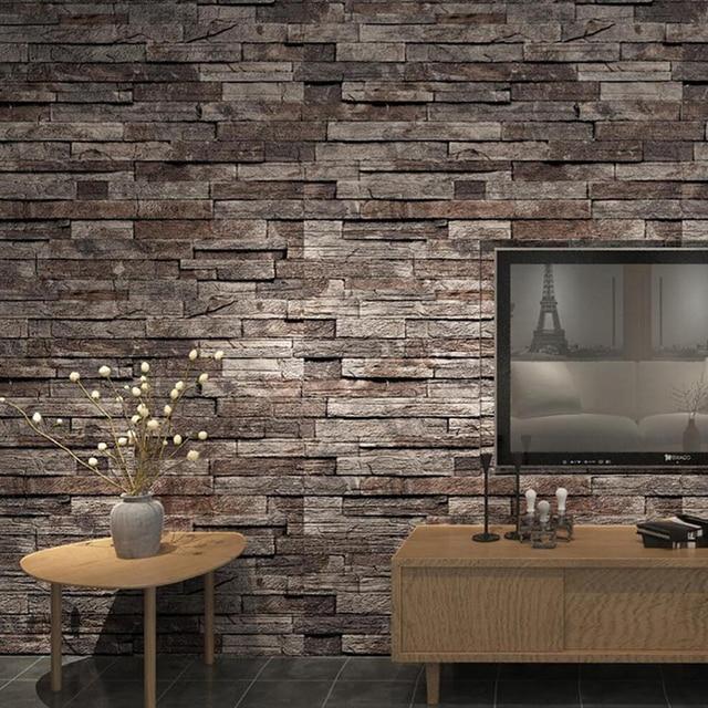 No Glue Wallpaper Antique Bricks Durable Retro Brick Pattern Wall Pvc Paper Stone Design