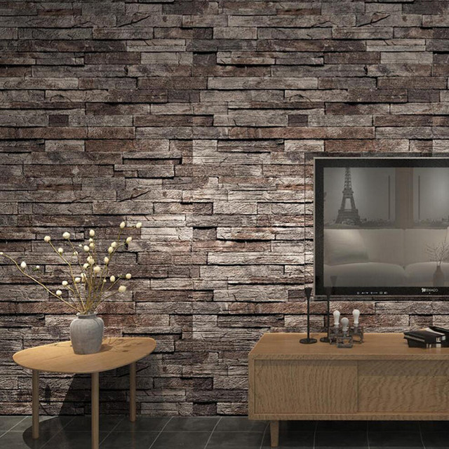 No Glue Wallpaper Antique Bricks Durable Retro Brick Pattern Wall Pvc Paper Stone Design Vintage Style For Bedhome