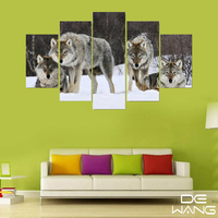 5 Pcs Canvas Animal Print Black And White Moon Wolf African Animal Canvas Art 5 Piece