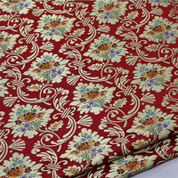 C626 High quality Florals Jacquard Chinese Silk Jacquard Brocade Fabric Red Chinese Wedding Dress Festival Cushion Case Clothes