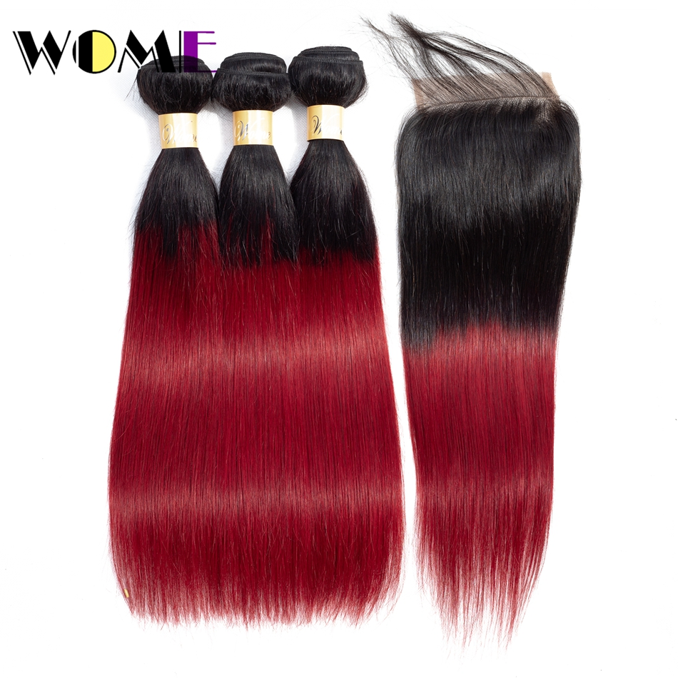 Wome Pre colored 1b/bug 3 Burgundy Bundles With Closure Chinese Straight Ombre Human Red Hair Bundles With Straight Closure-in 3/4 Bundles with Closure from Hair Extensions & Wigs    1