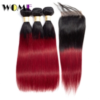 Wome Pre colored 1b/bug 3 Burgundy Bundles With Closure Chinese Straight Ombre Human Red Hair Bundles With Straight Closure