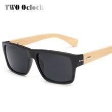 Два оклока винтажные квадратные бамбуковые солнцезащитные очки мужские и женские деревянная дужка очков Солнцезащитные очки Спортивные очки ретро черные очки 5119