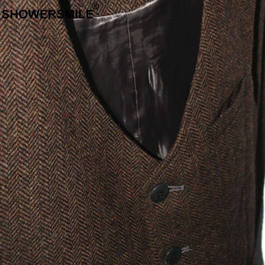 Image 3 - SHOWERSMILE Brown Mens Vest British Vintage Men Herringbone Vest  Tweed Jacket Wool Fabric Sleeveless Blazer Brand Clothingtweed  vestmens vintage vestsvintage tweed vest